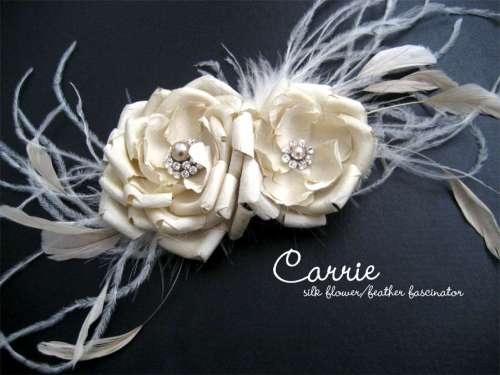 Carrie feather fascinator by Chameleon Designs