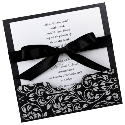 Perfect for a black and white wedding theme this invitation features a